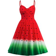 Spaghetti Strap Watermelon Pattern Printed Skater Dress (160 RON) ❤ liked on Polyvore featuring dresses, watermelon print dress, polka dot skater dress, dot dress, spaghetti strap dress and gradient dress