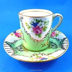 Royal Stafford Floral and Light Green Demitasse Tea Cup and Saucer Set