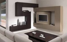 Doable Living Room Decor and Interior Design Tips Corner Tv Shelves, Corner Tv Unit, Tv Unit Design, Tv Wall Design, House Design, Tiny Living Rooms, Living Room Decor, Tv Furniture, Furniture Design