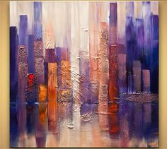 Cityscape Painting - Downtown #'Downtown' is a 100% hand-made painting, created with acrylic paints on high-quality canvas