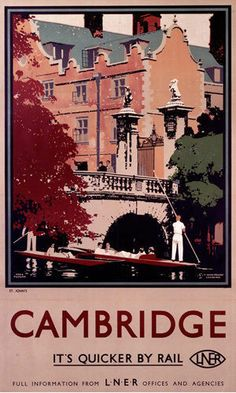 Cambridge - Punting Art Print by National Railway Museum at King & McGaw Posters Uk, Train Posters, Railway Posters, Illustrations Vintage, Ceiling Painting, Pub Vintage, British Travel, National Railway Museum, Tourism Poster