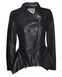 wild off drape biker jacket in black, 100% leather and lightweight, rock and roll biker jacket, removable zipped peplum, edgy and feminine, bolongaro trevor, autumn/winter 2013 women's collection, allsaints,