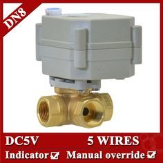 28.33$  Buy now - 1/4'' DC5V 5 wires electric valve DN8 3 Way Horizontal type Valve with manual override and indicator  #aliexpressideas