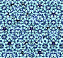 A quasiperiodic crystal, or quasicrystal, is a structure that is ordered but not periodic. A quasicrystalline pattern can continuously fill all available space, but it lacks translational symmetry. While crystals, according to the classical crystallographic restriction theorem, can possess only two, three, four, and six-fold rotational symmetries, the Bragg diffraction pattern of quasicrystals shows sharp peaks with other symmetry orders, for instance five-fold.