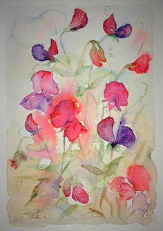 SOLD! Watercolour painting of Sweet Peas original art by artist Amanda Hawkins 20 x 30cm decorative floral artwork ~ wild flowers