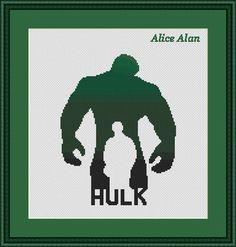 Hulk silhouettesuperhero Marvel ComicsTV от HallStitch на Etsy