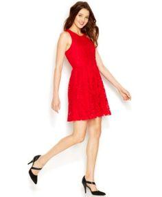 Kensie Contrast Overlay Lace Dress | macys.com