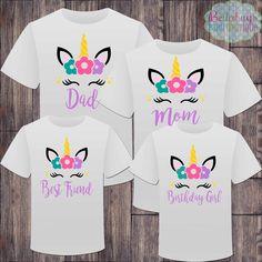 Matching Unicorn Family Birthday Girl Tshirts