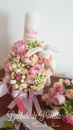 Lumanare botez fetita cu trandafiri si iepuras Baptism Candle, Floral Wreath, Wreaths, Candles, Table Decorations, Home Decor, Crystal, Decoration Home, Room Decor