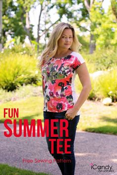 What a great idea to mix match patterns/florals and solid. The few inches drop in the shoulder seam at the front brings about this contrast well. Rush over to I Candy to download the free sewing patte