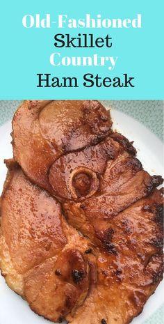 Glazed Ham Steak Recipe * Easy Recipe for Dinner * Ham Recipes * Ham Steak Recipes * Ham Recipes for Dinner * Ham Steak Dinner * Skillet Ham Steak Recipes * How to Cook Ham Steak * Brown Sugar Ham Steak Baked Ham Steak, Ham Steak Glaze, Pork Ham, Pork Roast, Pork Chops, Grilled Ham Steaks, Fried Steak, Easy Ham Recipes, Ham Steak Recipes