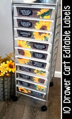 10 Drawer Rolling Cart Classroom Organization Ideas- Sunflower Farmhouse Classroom Decor Theme Ideas