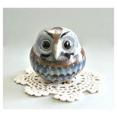 Collectible Owl Figurine Tonala Ceramic Owl Decor Mexican Folk Art... (€25) ❤ liked on Polyvore featuring home, home decor, owl decor, brown home decor, blue home accessories, owl figurines, ceramic owl figurine and ceramic figurines