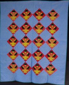 Flower Pot Pattern on Point Quilt  Iona, Lebanon County, PA, Late 19th c, the Herrs Antiques