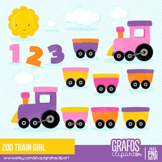 ZOO TRAIN GIRL Digital Clipart set -You will receive: Zoo Clipart, Train Clipart, Clipart Baby, Baby Shower Clipart, Baby Clip Art, Animals For Kids, Handmade Gifts, Etsy, Products