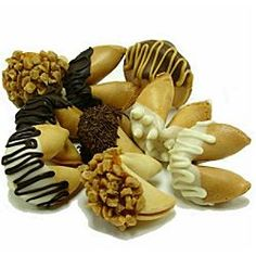 A cool idea would be to have Chocolate covered fortune cookies and instead of putting in fortunes you would put in facts about you and the groom.