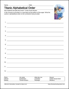 Free Printable Titanic Worksheets and Coloring Pages: Titanic Alphabet Activity
