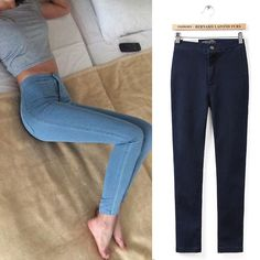 Skinny Jeans Woman Plain Hight Waist Jeans Women Stretch Waist Slim Pencil Pants Jeans Femme Jean Taille Haute XS-XL aliexpress.com