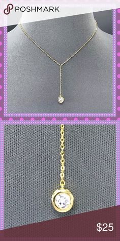 """💖STUNNING Gold Chain/Cubic Zirconia Pendant💖 💖STUNNING Dainty Gold Alloy Chain with Gorgeous/Sparkling Clear Cubic Zirconia Stone. Will look amazing with your Spring/Summertime Apparel. Lobster Claw Clasp, Approx. 17"""" L💖 Boutique Jewelry Necklaces"""