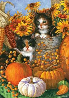 Custom Decor Flag - Fall Kittens Decorative Flag at Garden House Flags at… Halloween Pictures, Fall Pictures, Halloween Cat, Fall Garden Flag, Autumn Garden, Autumn Painting, Autumn Art, Creation Photo, Autumn Scenes