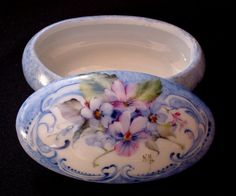 Hand Painted Floral Forget-Me-Not and Violets Design Porcelain China Ring Jewelry Trinket Box - Can be personalized