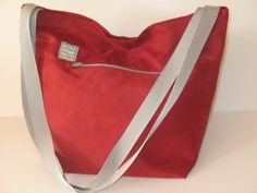 red shoulder bag with silver grey outside zip by LIGONaccessories, $69.00