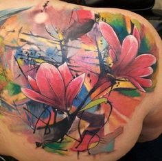 Colorful Magnolia Flower Piece for Back. Finding something colorful? I think your search ends here.