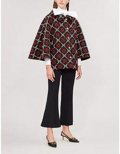 2fcb5ebf04e Gucci Logo wool-jacquard cape coat