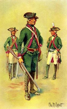 Field Jäger Corps Hesse-Cassel, 1776-1783 [Ealge with Flag] UNIFORMS OF THE AMERICAN REVOLUTION    The Brunswick and Anspach yagers or chasseurs wore the same dress but with bright red facings and linings to the coats. On parade they wore tall green feathers on their hats above the green silk cockade, and in summer white linen breeches. Officers were distinguished by a white feather, and gold lace on the cuffs and lapels. Sergeants by a white feather with red top, and gold lace on the cuffs.