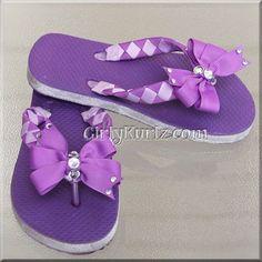 Purple Woven Flip Flops