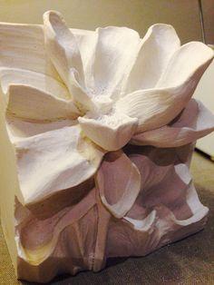 Carving plaster of Paris - the lotus flower.