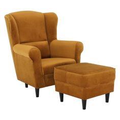 Pohodlné křeslo ušák Astrid s taburetem má dřevěnou polstrovanou konstrukci a je čalouněné látkou Riviera 41 hořčicová. Cena je včetně taburetu. V nabídce na e-shopu máme více barevných provedení a vzorů látek. Recliner, Armchair, Lounge, Furniture, Vintage, Design, Home Decor, Living, House