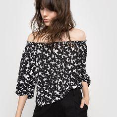 que es un personal shopper  - blusa hombros descubiertos topos negro y blanco