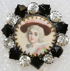 Button Date: Culture: French Medium: ivory, rhinestones, metal Dimensions: [no dimensions available] Credit Line: From the Hanna S. Button Art, Button Crafts, Miniature Portraits, Vintage Buttons, Metropolitan Museum, Vintage Sewing, Decoupage, Creations, Miniatures