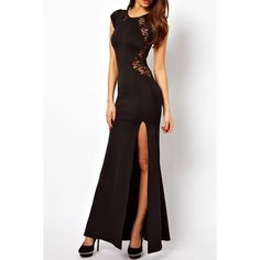 Yoins Yoins Black Lace Insert High Split Body-Conscious Maxi Dress ($16) ❤ liked on Polyvore featuring dresses, gowns, black, lace gown, bodycon maxi dress, black ball gown, black dress and black gown