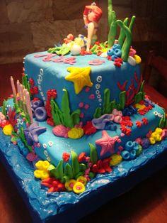 Little Mermaid Birthday Cake Little Mermaid Birthday Cake, Little Mermaid Cakes, Birthday Cake Girls, Birthday Cupcakes, Gorgeous Cakes, Amazing Cakes, Disney Castle Cake, Beach Cupcakes, Bubble Cake