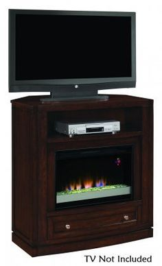 ClassicFlame 26DE6439C247 Wesleyan Wall or Corner TV Stand for TVs up to 47 Meridian Cherry Electric Fireplace Insert sold separately * Click image to review more details.