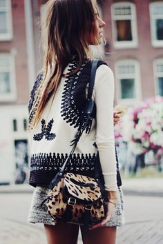 leopard bag and super cool gilet
