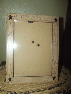 Primitive Wood Picture Frame 5x7 ~ Crackle Tan Black Stars Country Decor #NaivePrimitive