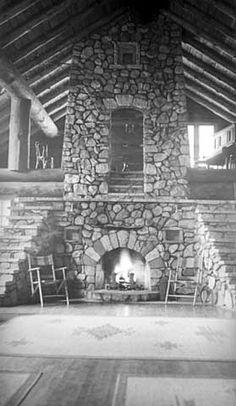 Stone fireplace, Ruttger's Sherwood Forest Lodge, Gull Lake, MN, ca 1938