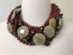 Spectacular Angela Caputi Vintage Burgundy, Turtoise, gold Swill & Rhinestone Necklace by GlamEpoque on Etsy