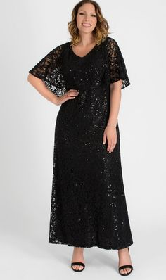 Plus Size Black Sequin and Lace Special Occasion Long Evening Dress. The perfect special occasion plus size black maxi dress in the perfect sequin lace fabric. Black Sequin Maxi Evening Gown Plus Size. Plus Size Gowns, Plus Size Maxi Dresses, Plus Size Outfits, Gowns With Sleeves, Maxi Dress With Sleeves, Short Sleeve Dresses, Sequin Maxi, Floor Length Gown, Cape Dress