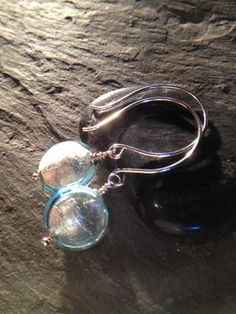 Venetian Glass EarringsSterling SilverBlue by LadonnaStudio, $25.00