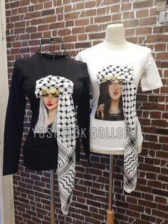 T shirt with Jordanian Shmag – QuickBuy White Hair, Graphic Sweatshirt, T Shirt, Christmas Sweaters, Size Chart, Hair Color, Elegant, Sweatshirts, Brown