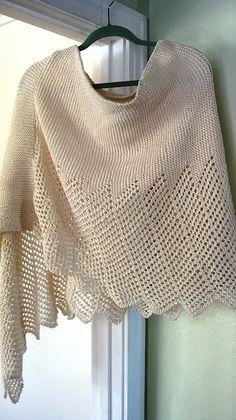 Lace Knitting Patterns Lace Cotton Ponchette pattern by windloop Knitted Poncho, Knitted Shawls, Crochet Scarves, Knitting Scarves, Knit Or Crochet, Lace Knitting, Crochet Shawl, Capelet Knitting Pattern, Shawl Patterns
