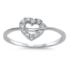 Sterling Silver Cute Heart CZ Ring Sz 4-9 105180123456