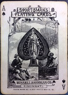 1881 Anerican Antique Poker Playing Cards Sportsman 52 BOX Hunting DOG Joker…