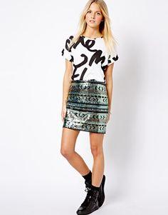 New Look Geo-Tribal Sequin Mini Skirt