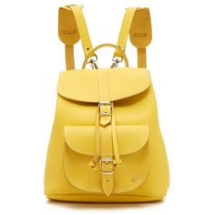 Grafea Mini Backpack ($210) ❤ liked on Polyvore featuring bags, backpacks, yellow, leather drawstring pouch, genuine leather backpack, zipper pouch, drawstring pouch and flap backpack