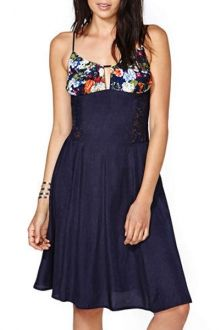 Floral Print Spliced Cami A Line Dress